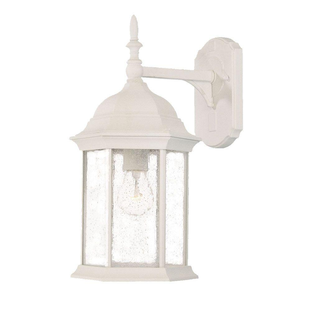 craftsman collection 1 light textured white outdoor wall mount light