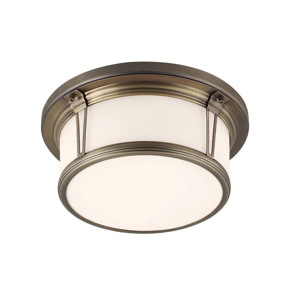 Feiss Woodward 2-Light Satin Bronze Flushmount