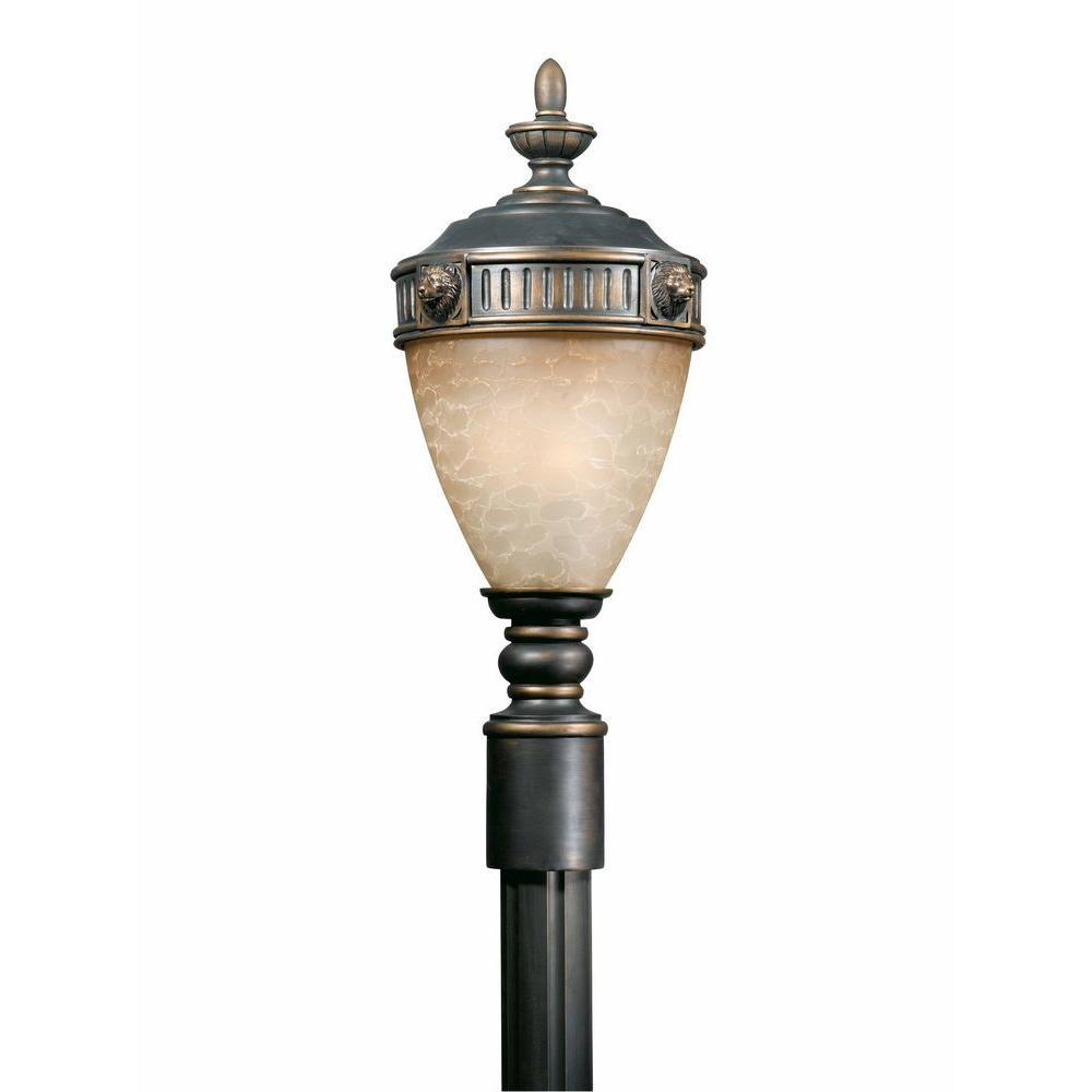 Illumine 3-Light Outdoor Post Mount Oil Rubbed Bronze Finish Cognac Antiqued Glass