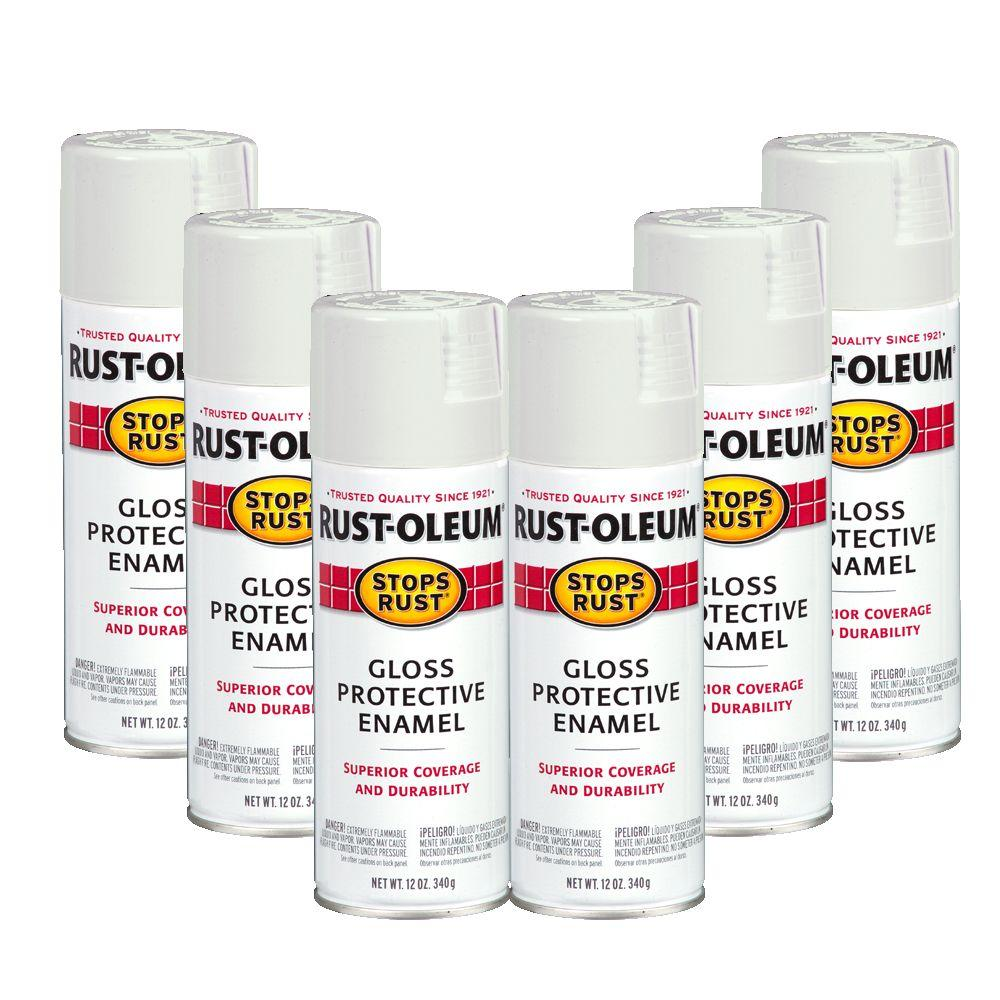 Rust-Oleum Stops Rust 12 oz. Gloss White Spray (6-Pack)DISCONTINUED
