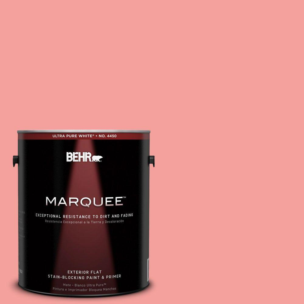 BEHR MARQUEE 1-gal. #150B-4 Pink Eraser Flat Exterior Paint-445401 - The