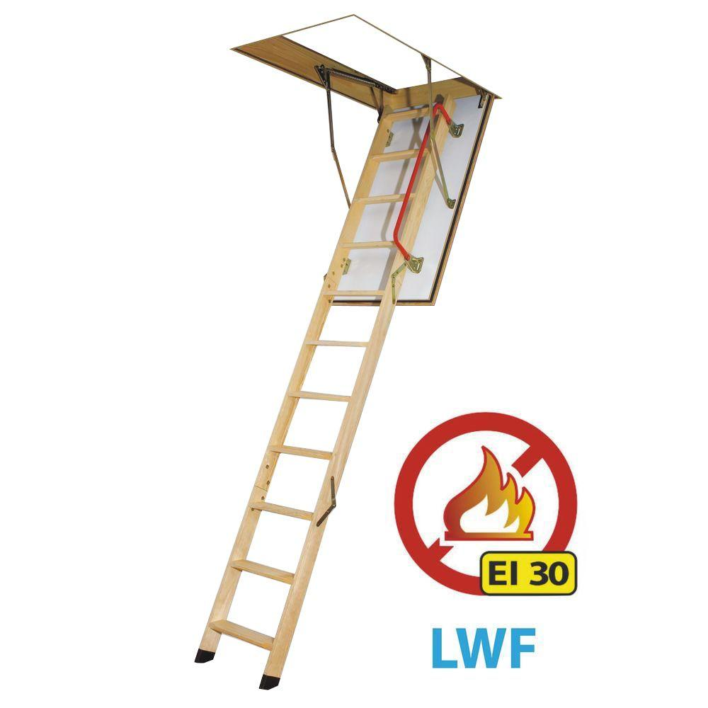 Fakro 10 ft., 22.5 in. x 54 in. Fire Rated Insulated Wood Attic Ladder with 300 lb. Load Capacity Type IA Duty Rating