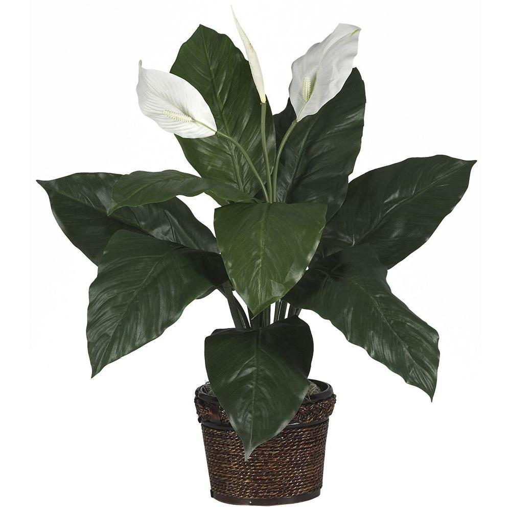 Nearly Natural 26 in. Spathyfillum Silk Plant with Wicker Basket