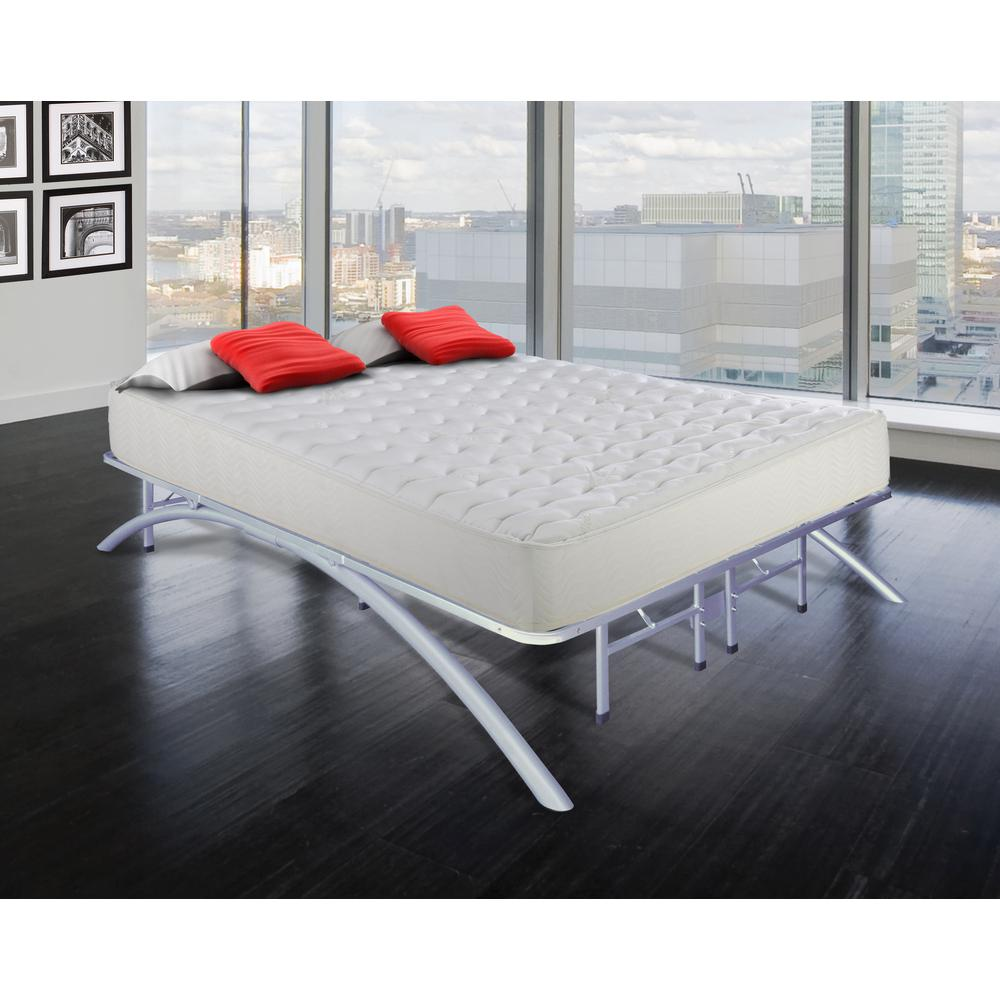 full size dome arc platform bed frame in silver