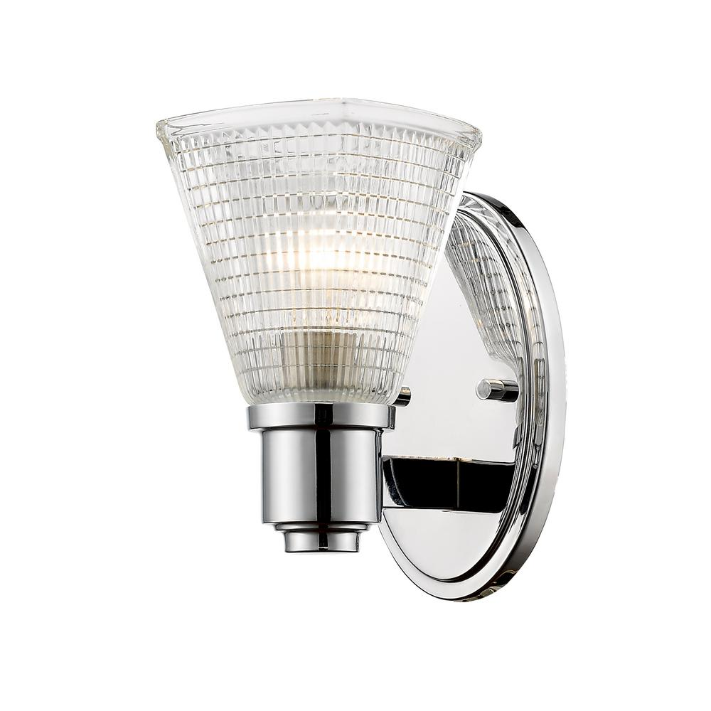 Sidonia 1-Light Chrome Wall Sconce with Clear Glass Shade