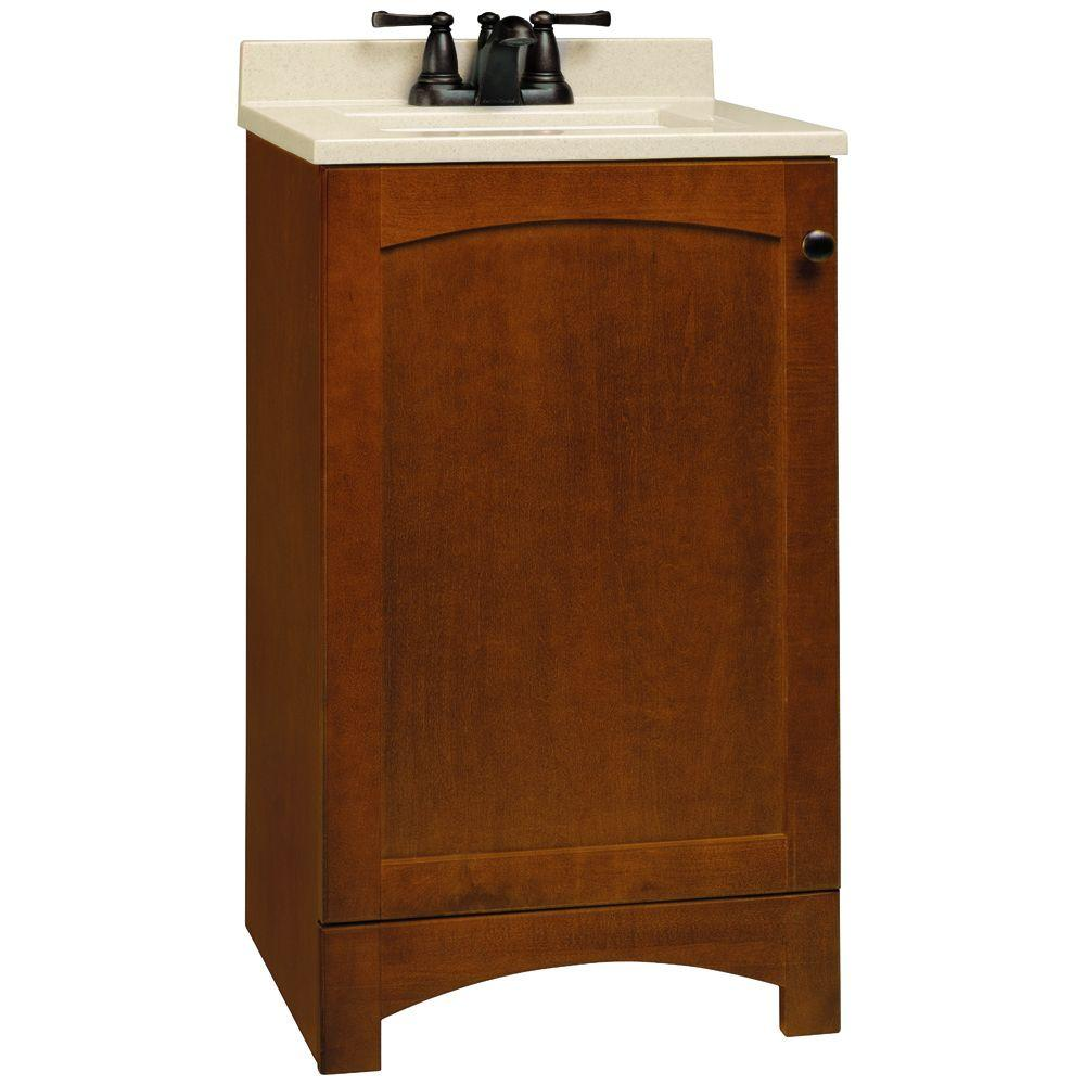 Glacier Bay Melborn 18-1/2 in. W x 16-1/2 in. D Vanity in Chestnut with Solid Surface Technology Vanity Top in Wheat