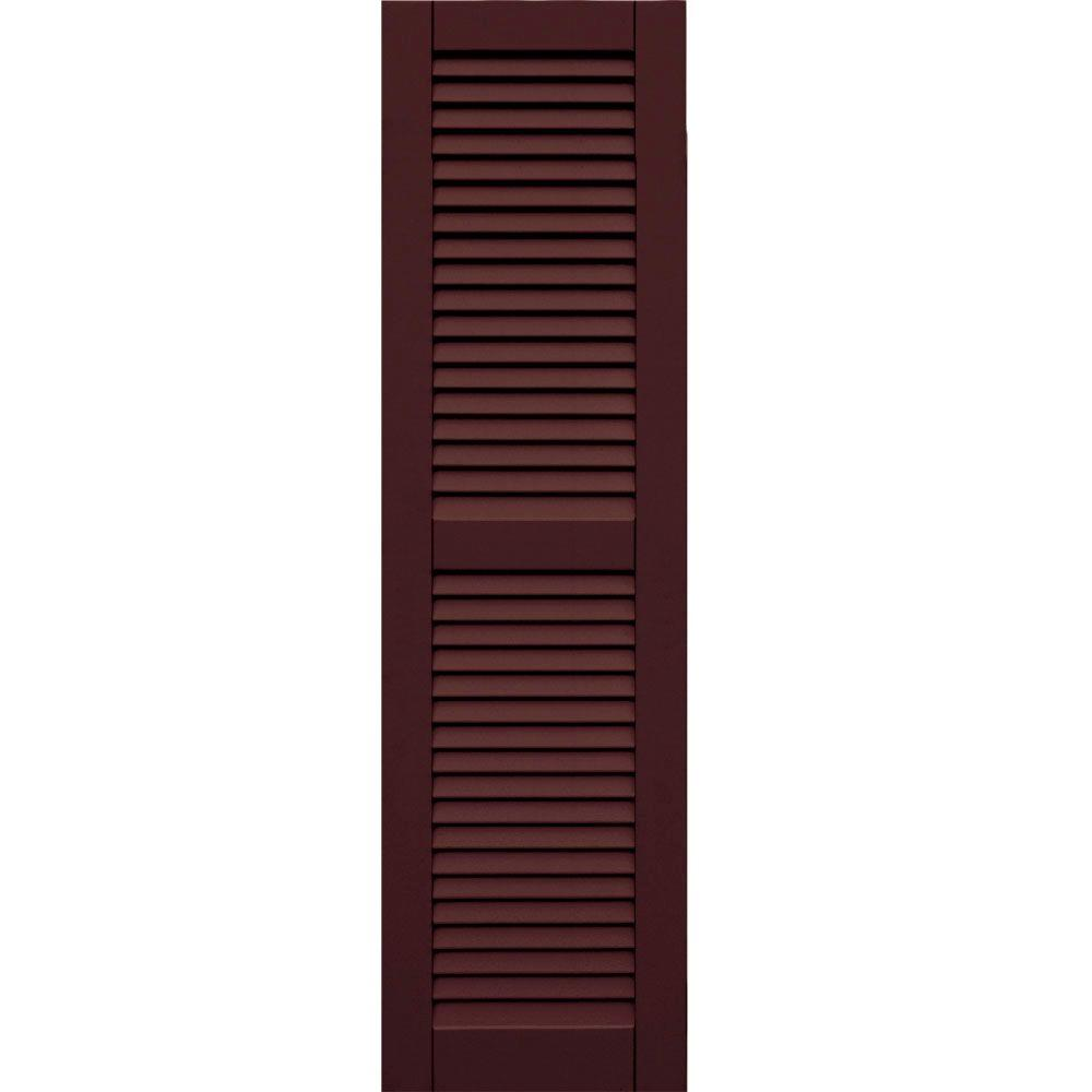 Winworks Wood Composite 15 in. x 54 in. Louvered Shutters Pair #657 Polished Mahogany