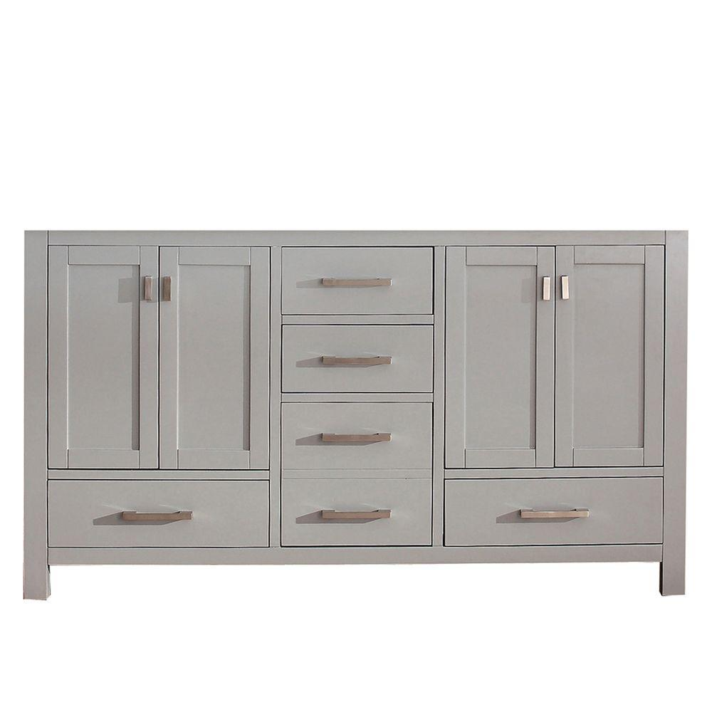 Modero 60 in. Double Vanity Cabinet Only in Chilled Gray