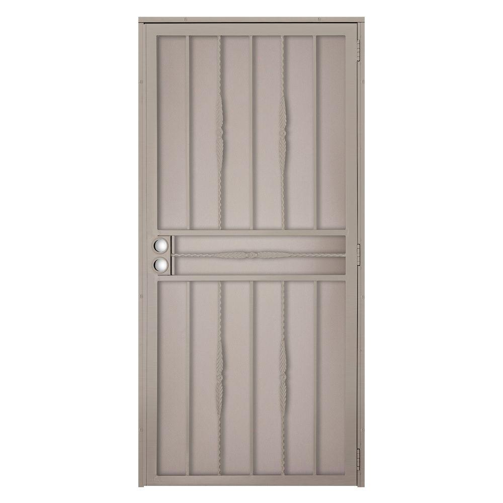 Unique Home Designs 32 in. x 80 in. Cottage Rose Tan Surface Mount Outswing Steel Security Door with Expanded Metal Screen
