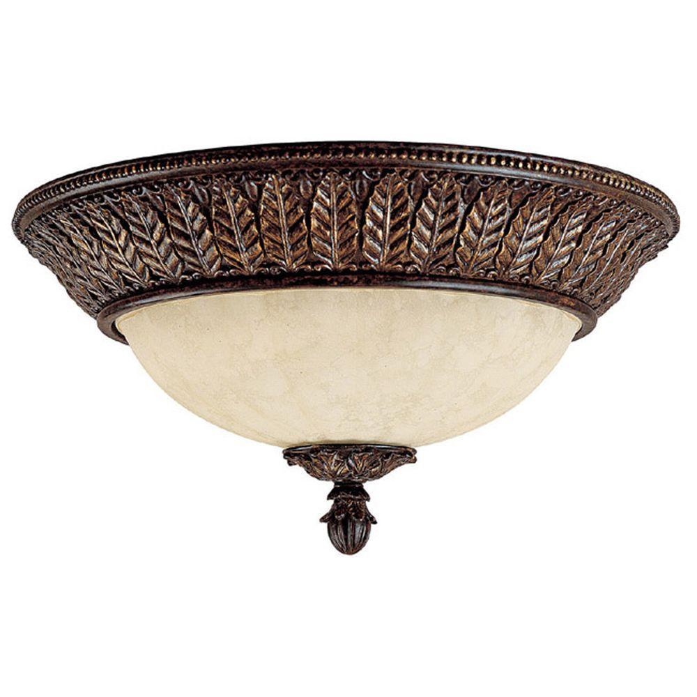Filament Design Johnson Collection 3-Light Chesterfield Brown Flush Mount with Rust Scavo Glass-DISCONTINUED