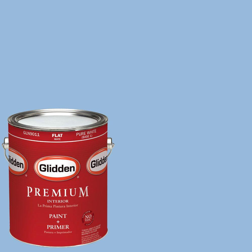 Glidden Premium 1-gal. #HDGV15 French Country Blue Flat Latex Interior Paint with Primer