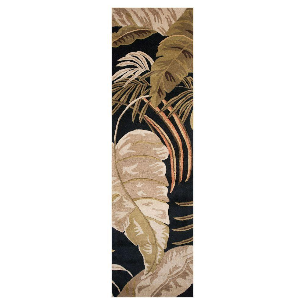 Kas Rugs Landscape Palm Midnight 2 ft. 3 in. x 8 ft. Rug Runner