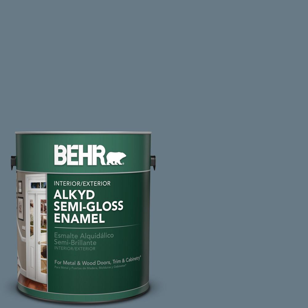 1 gal. #N490-5 Charcoal Blue Semi-Gloss Enamel Alkyd Interior/Exterior Paint