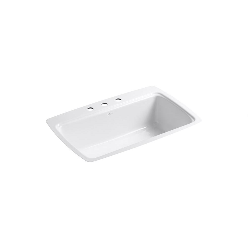 Cape Dory Tile-In Cast-Iron 33 in. 3-Hole Single Basin Kitchen Sink