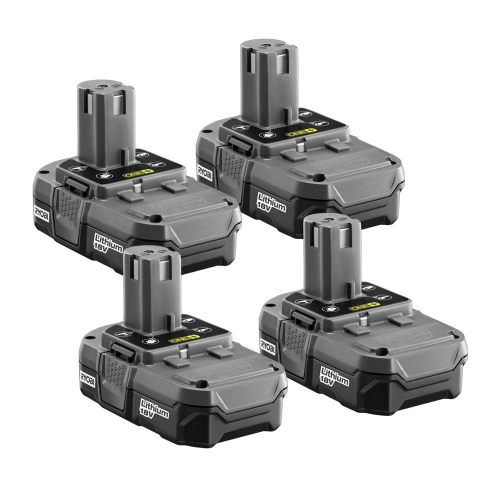 Ryobi Cordless Power Tool Batteries 18-Volt One+ Compact Lithium-Ion Battery (4-Pack) P181
