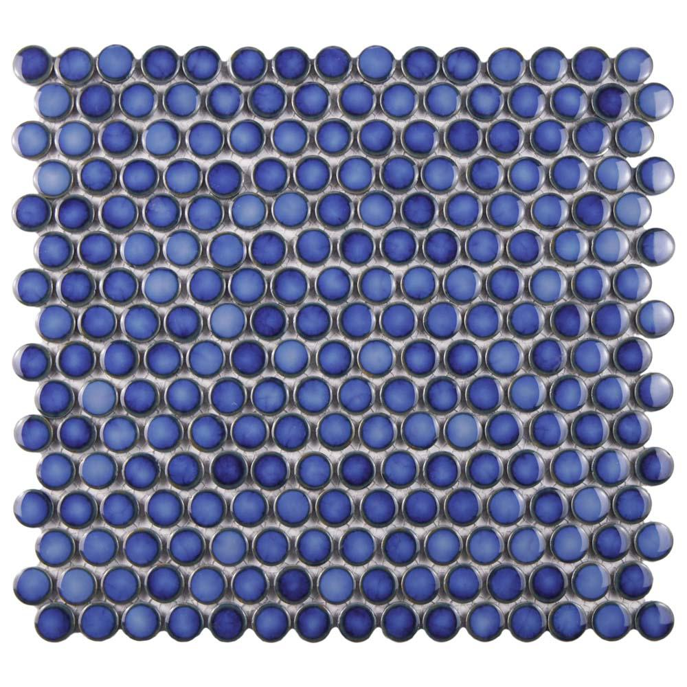 Hudson Penny Round Glossy Sapphire 12 in. x 12-5/8 in. x