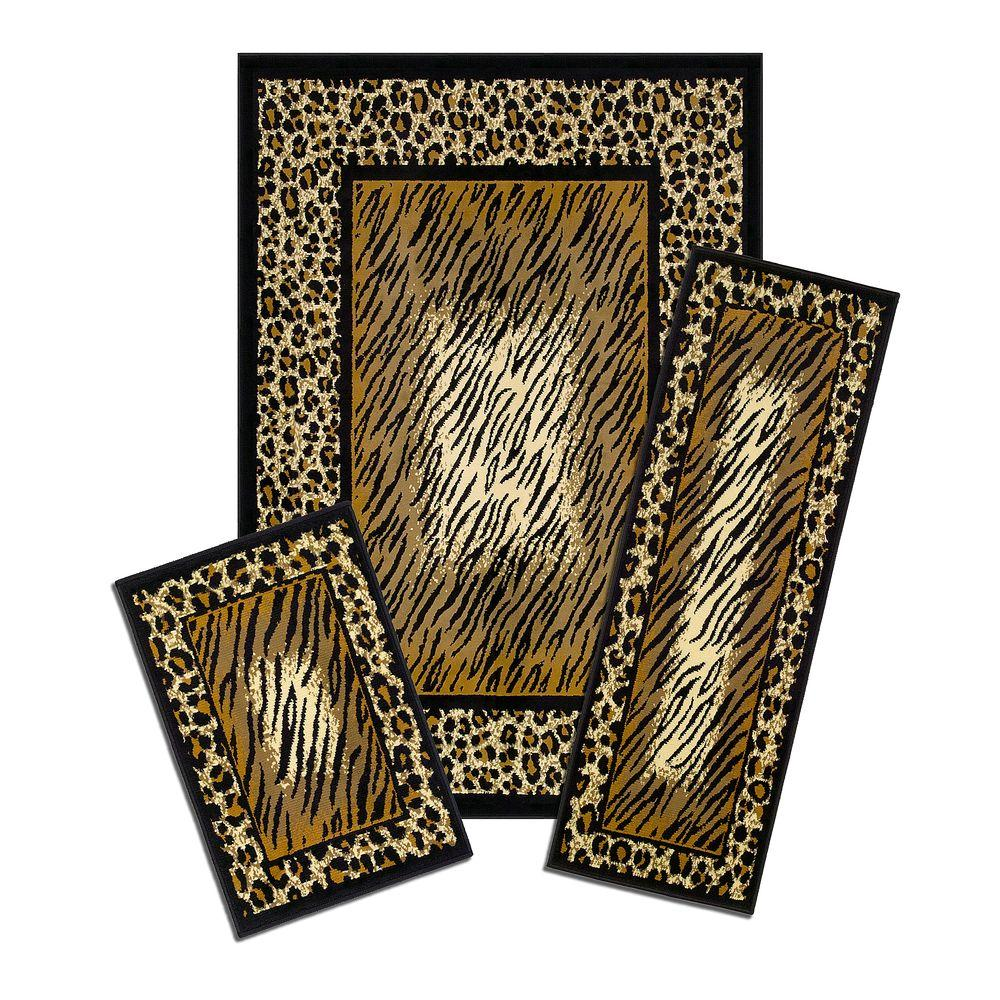 Capri Leopard Skin 3 Piece Set Contains 5 ft. x 7 ft. Area Rug, Matching 22 in. x 59 in. Rug Runner and 22 in. x 31 in. Mat