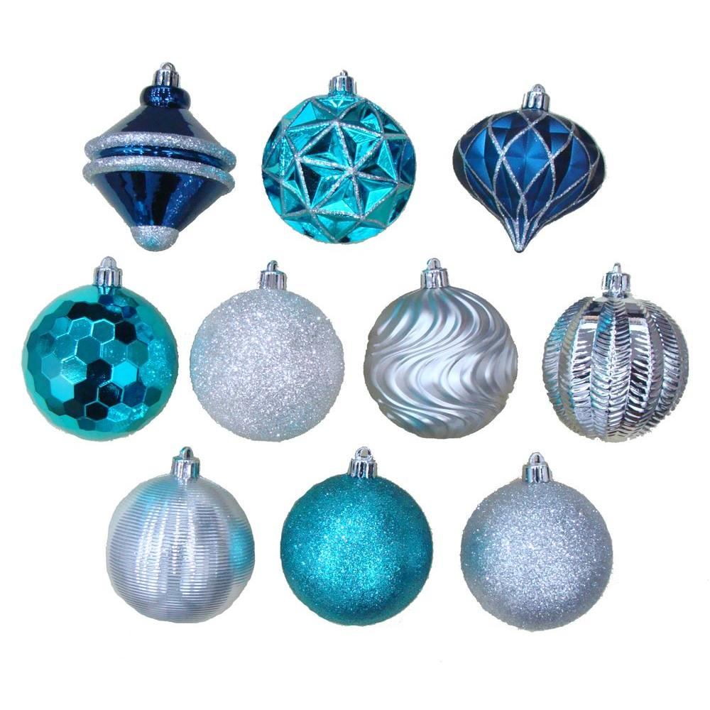 Martha Stewart Living Holiday Frost 3 in. Christmas Ornaments with Pattern (75-Pack)