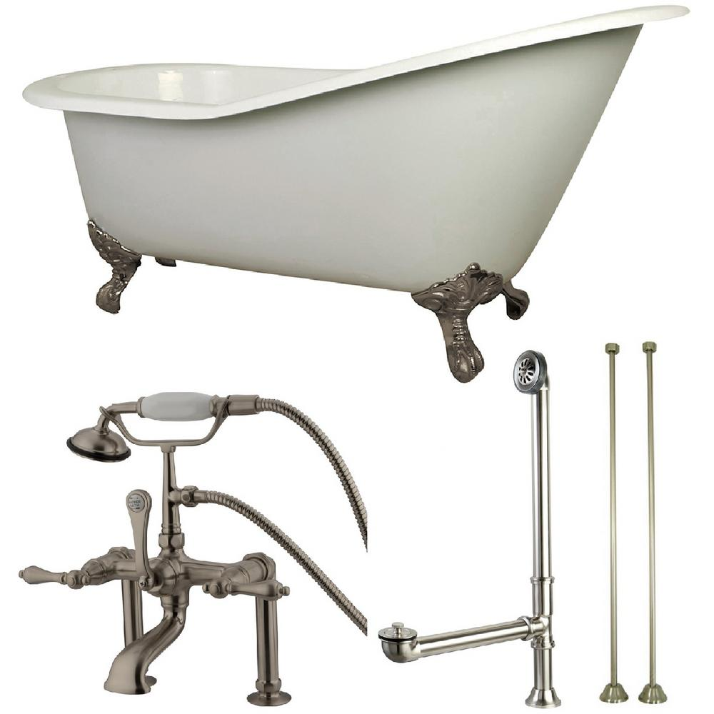 Aqua Eden Slipper 5 Ft Cast Iron Clawfoot Bathtub In White With Faucet Combo In Satin Nickel
