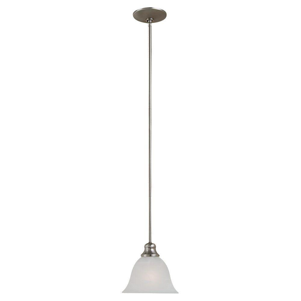 Sea Gull Lighting Windgate 1-Light Brushed Nickel Mini Pendant with Alabaster Glass Shade