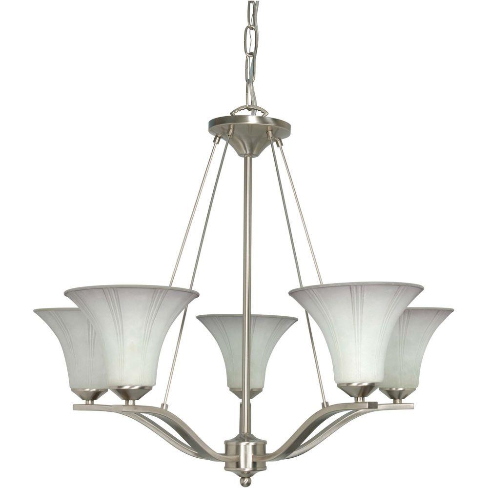 Glomar Delano - 5-Light Chandelier with Grey Suede Glass Brushed Nickel-DISCONTINUED