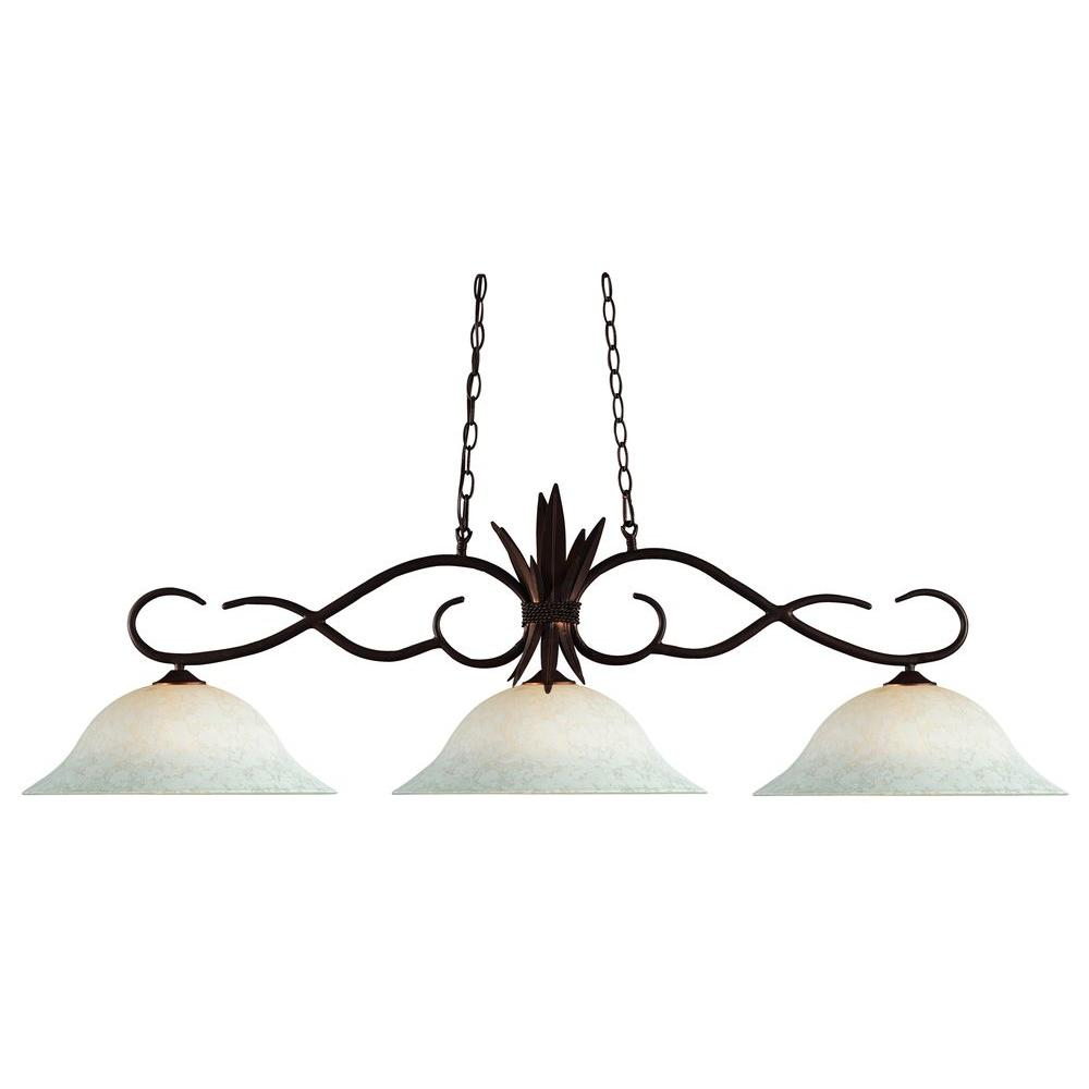 Lawrence 3-Light Bronze Incandescent Ceiling Island Pendant