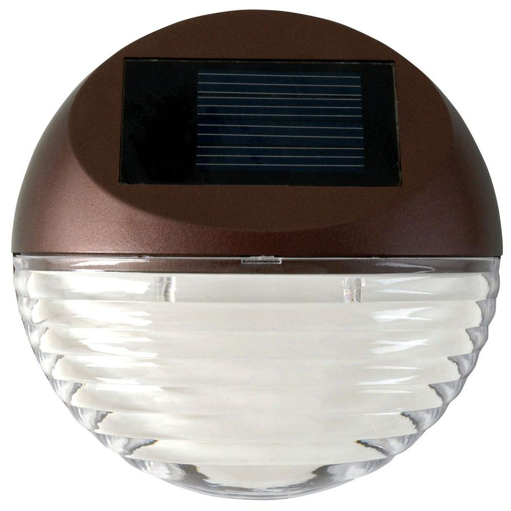 Moonrays Solar Powered Mini LED Bronze Round Outdoor Deck Light