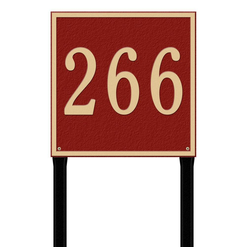 Whitehall Products Square Estate Lawn 1-Line Address Plaque - Red/Gold