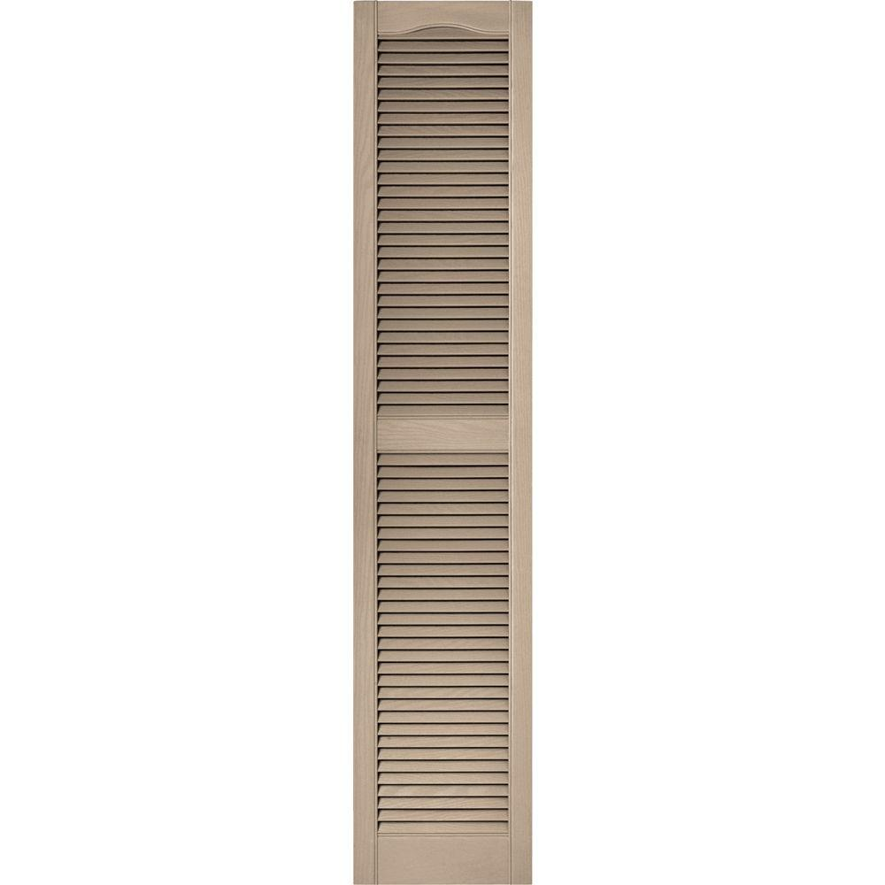 Builders Edge 15 in. x 72 in. Louvered Vinyl Exterior Shutters