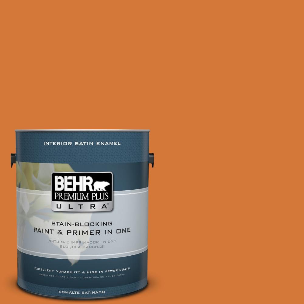 1 gal. #T17-19 Fired Up Satin Enamel Interior Paint