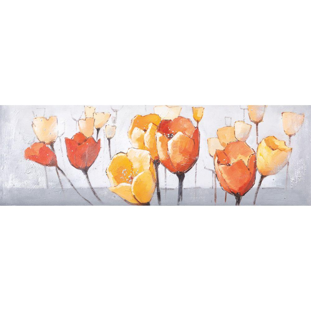 Yosemite Home Decor 60 in. x 20 in. Tulip Splendor II Hand Painted Contemporary Artwork -DISCONTINUED