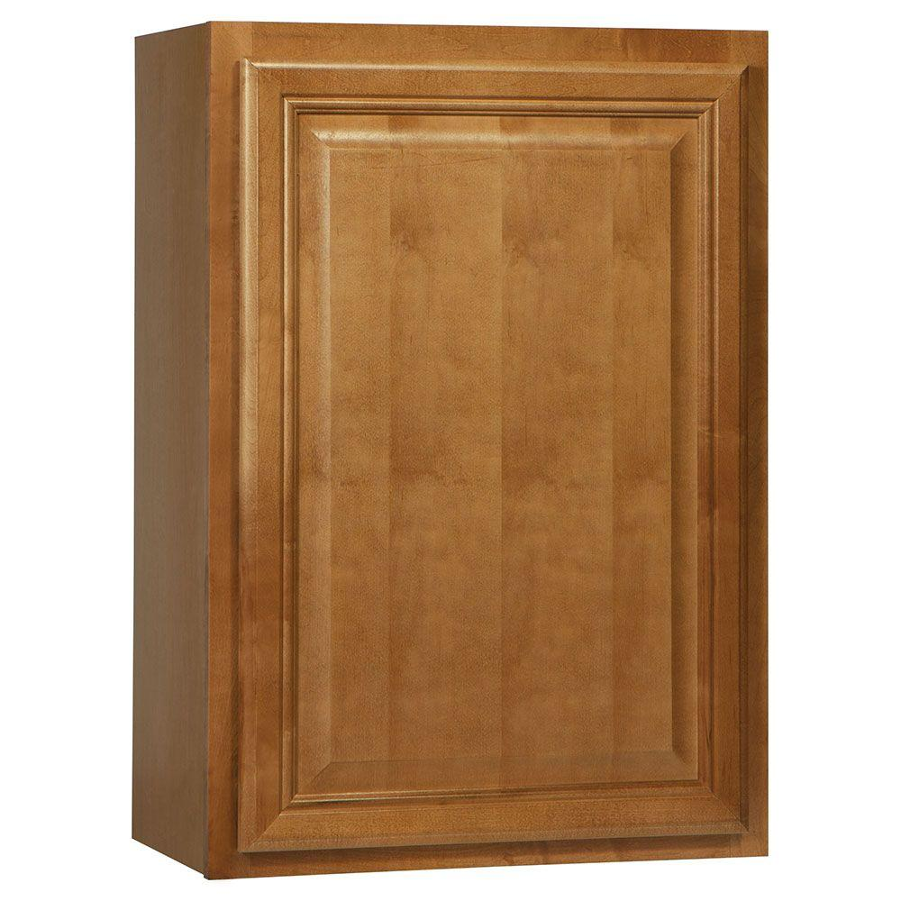 Hampton Bay Assembled 21x30x12 in. Cambria Wall Cabinet in Harvest-KW2130-CHR -