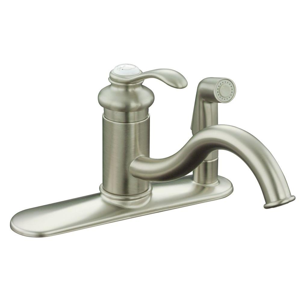 KOHLER Fairfax Single-Handle Standard Kitchen Faucet with Side Sprayer in Vibrant Brushed Nickel