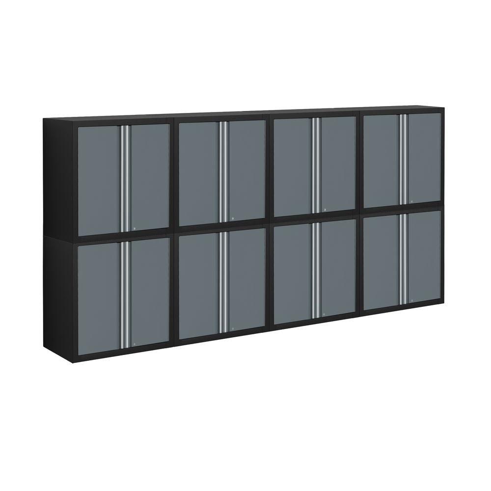 NewAge Products Pro Series 56 in. H x 112 in. W x 14 in. D Welded Steel Garage Cabinet Set in Grey (8-Piece)