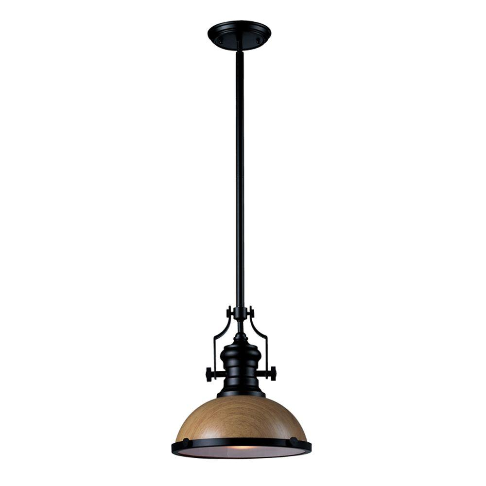 Titan Lighting 1-light Ceiling Mount Medium Oak and Oiled Bronze pendant-DISCONTINUED