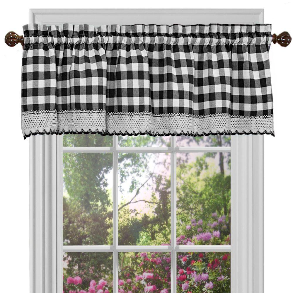 Buffalo Check 14in.L Poly/Cotton Valance in Black