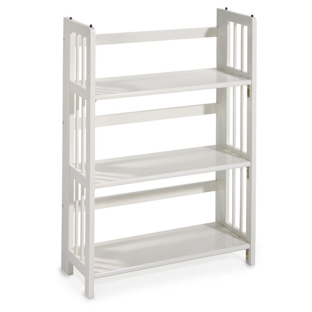 Home Decorators Collection 38 in. H x 27.5 in. W White Folding and Stacking 3-Shelf Bookcase