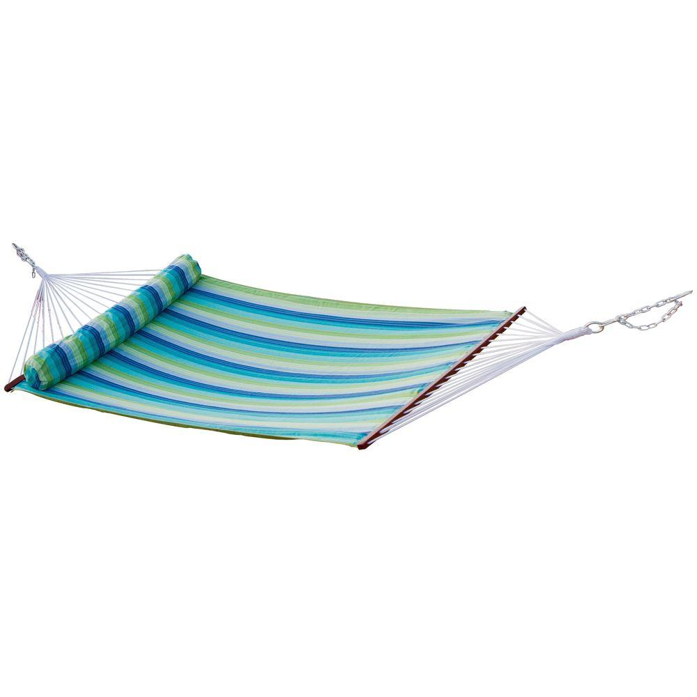 RST Brands 4 ft. 6 in. Polyspun Ocean Breeze Stripe Hammock with Bolster Pillow (Stand Not Included)