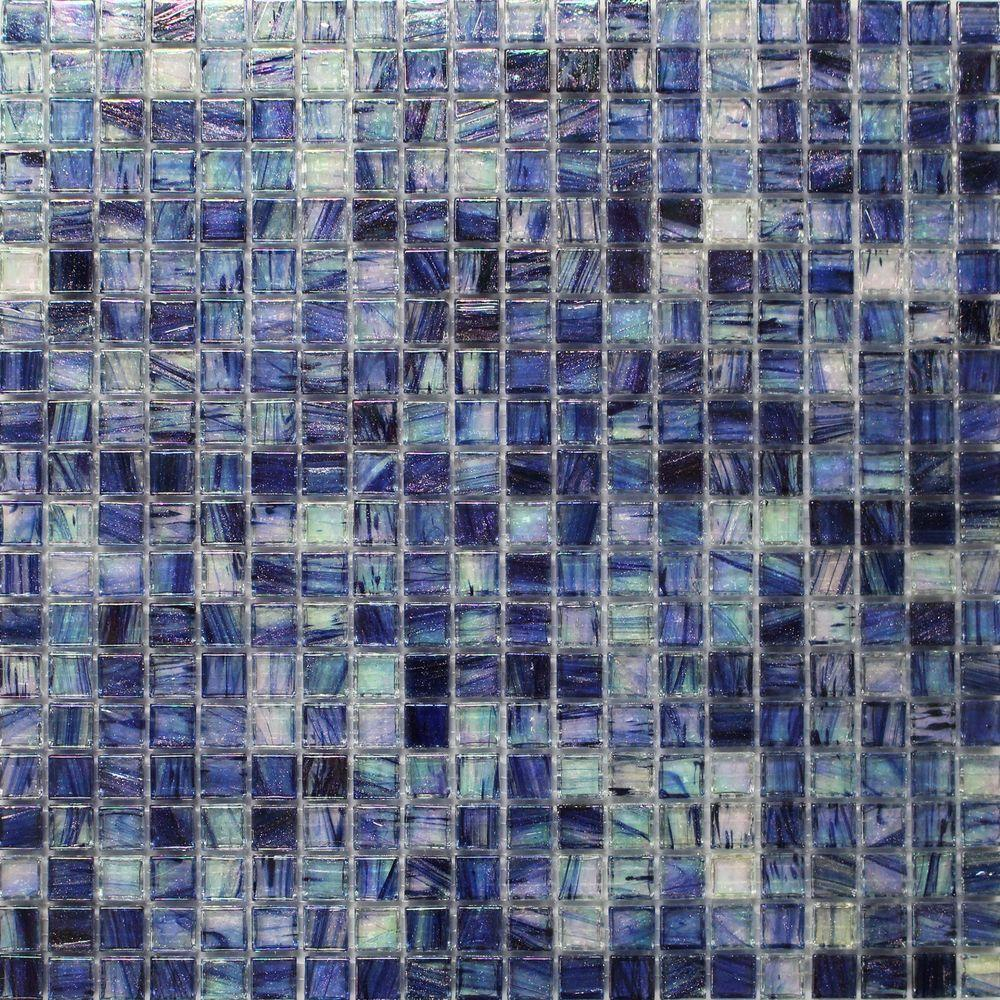 Splashback Tile Breeze Blueberry Stained Glass Mosaic Wall Tile - 3 in. x 6 in. Tile Sample