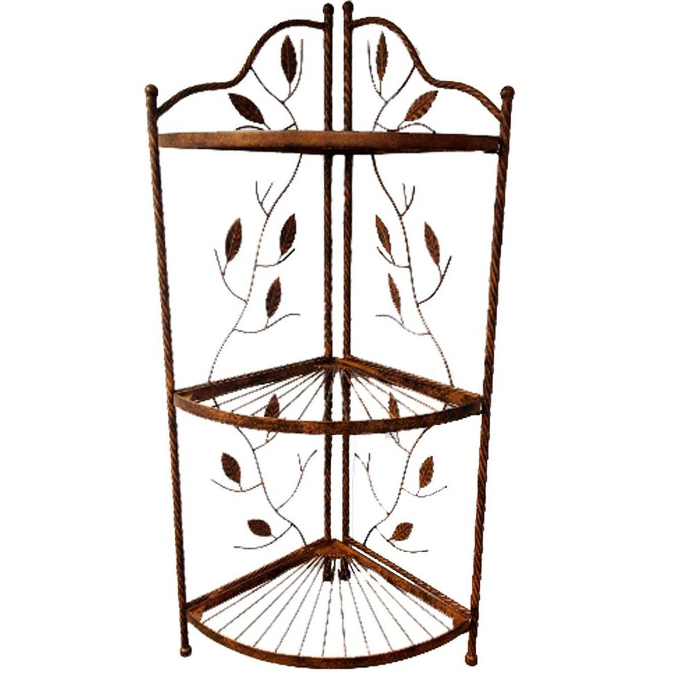 Deer Park Vine and Leaf Design Corner Small Bakers Rack