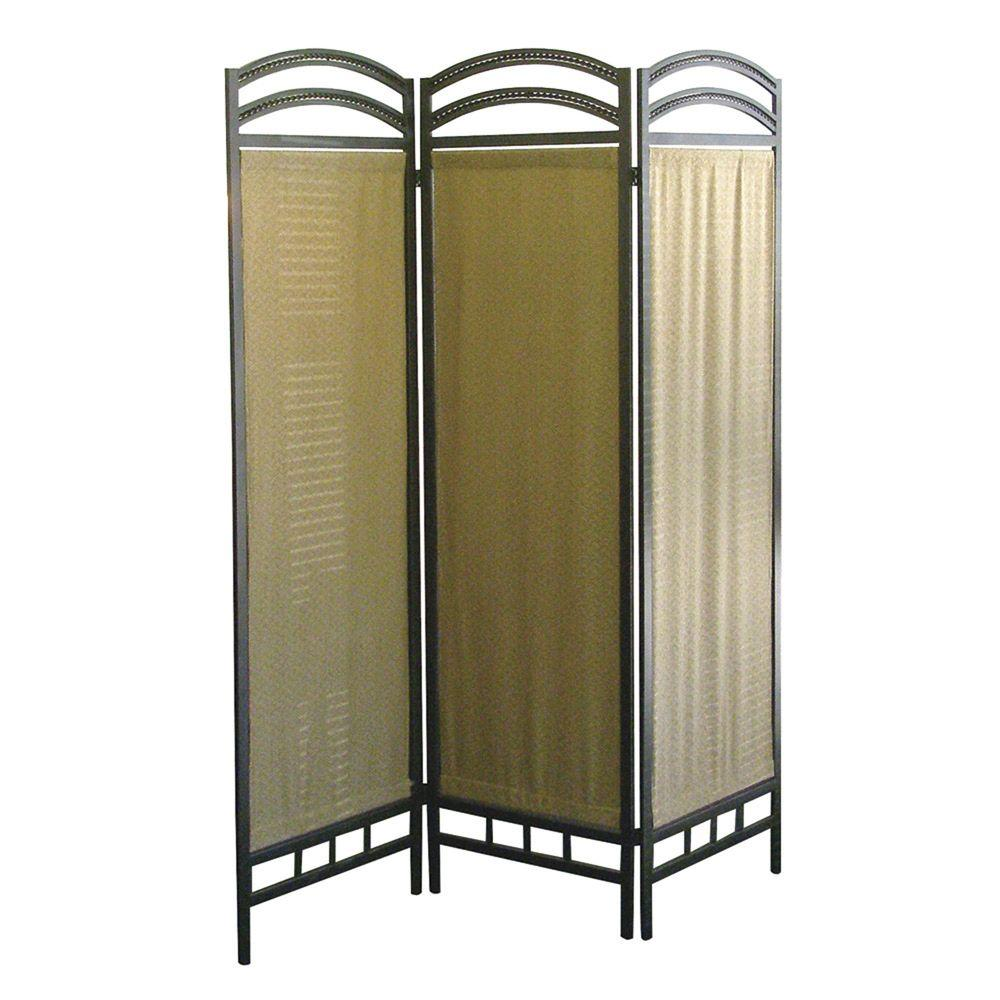 6 ft. Pewter 3-Panel Room Divider