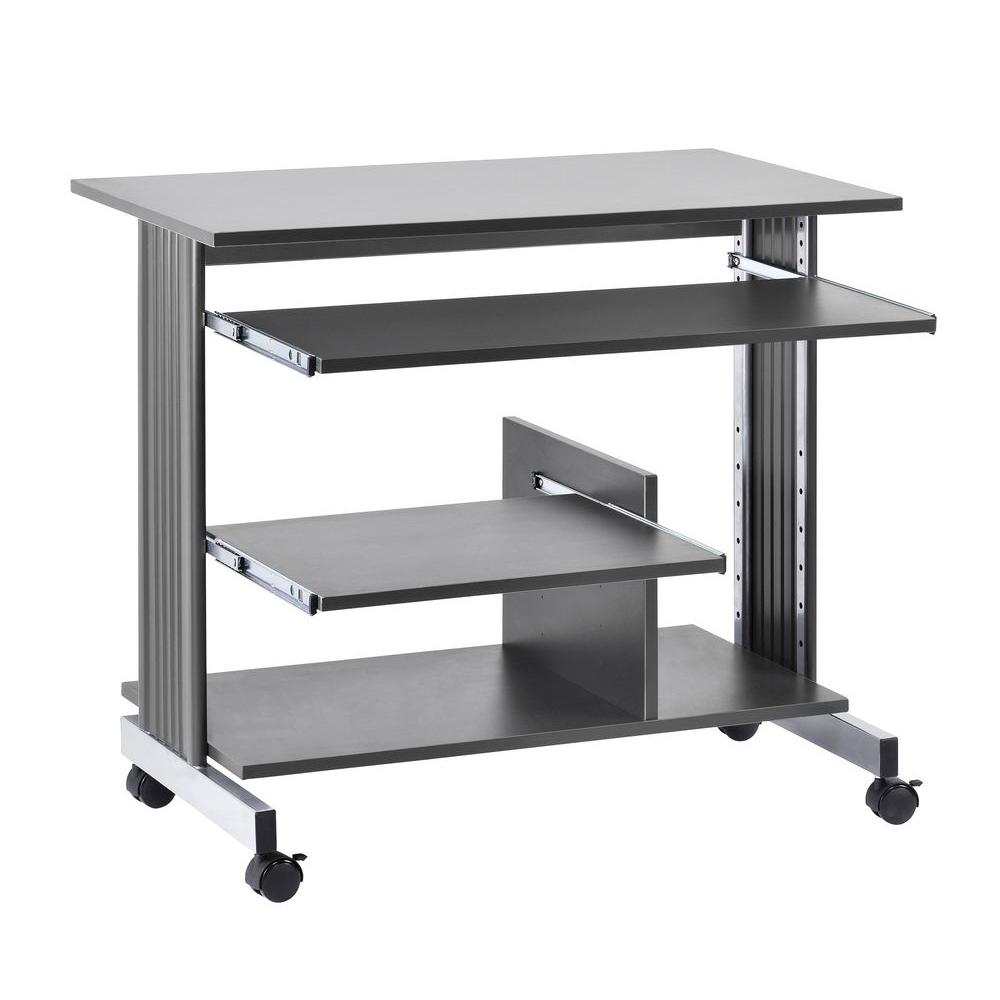 Buddy Products 31 in. H x 36 in. W x 22 in. D Euroflex Mini Tower Computer Desk in Charcoal and Silver