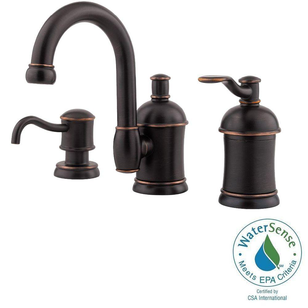 Pfister Amherst 8 in. Widespread Single-Handle High-Arc Bathroom Faucet with Soap Dispenser in Tuscan Bronze