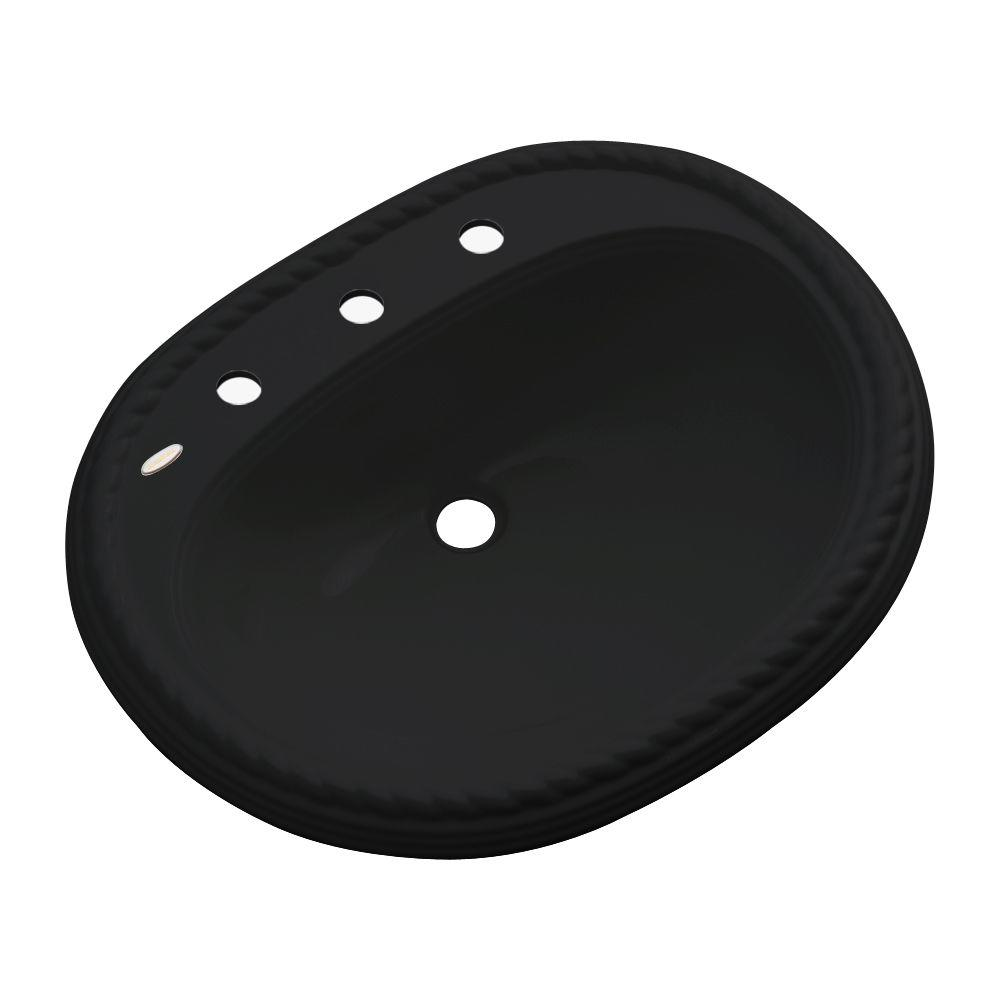 Malibu Drop-In Bathroom Sink with Faucet Hole in Black