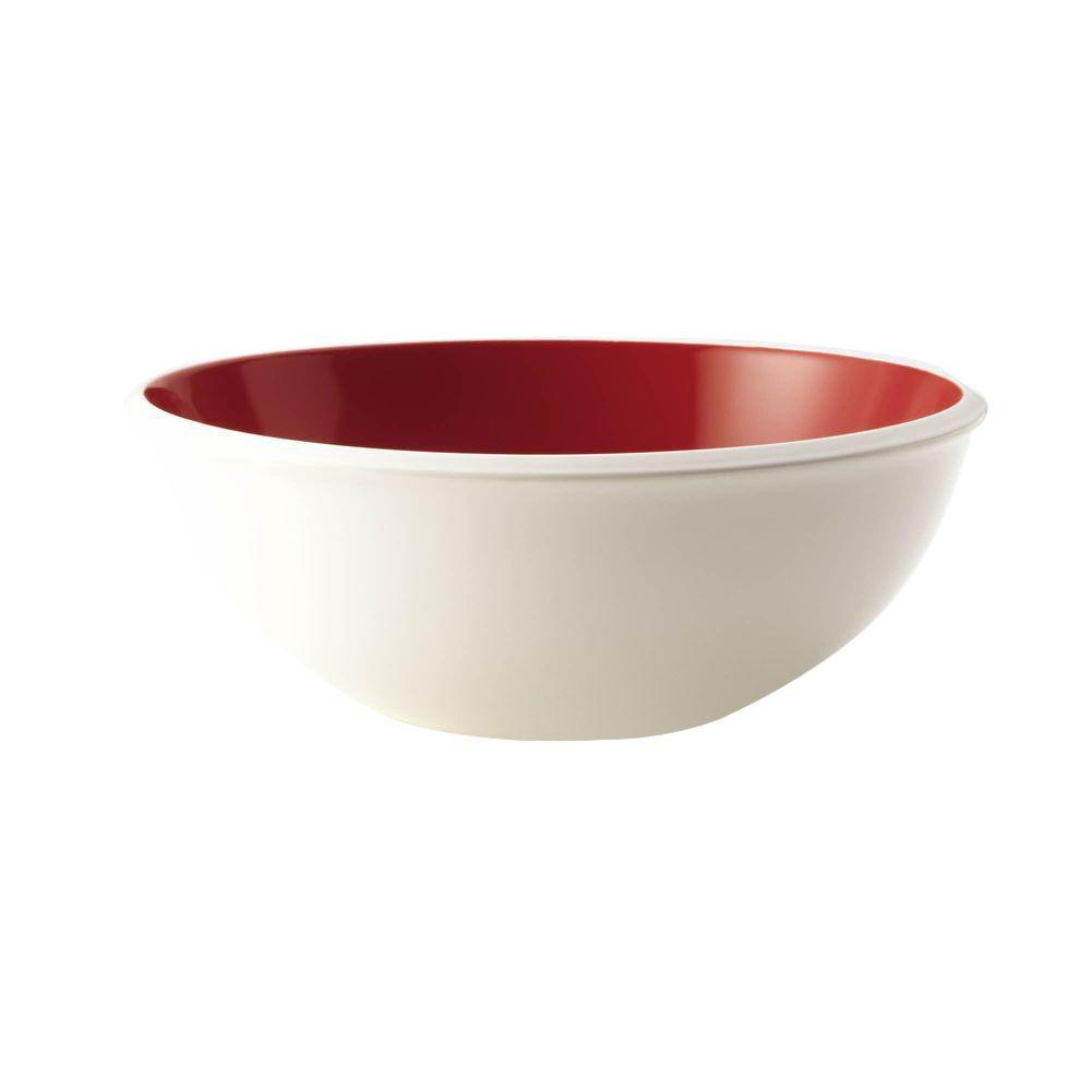 Rachael Ray Dinnerware Rise 10 in. Stoneware Serving Bowl in Red