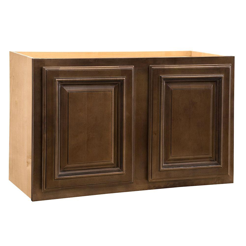 Home Decorators Collection Assembled 30x12x12 in. Wall Double Door Cabinet in Huntington Chocolate Glaze