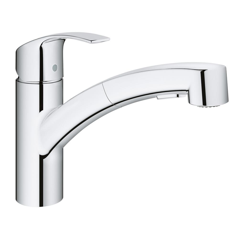Eurosmart Single-Handle Pull-Out Sprayer Kitchen Faucet in StarLight Chrome