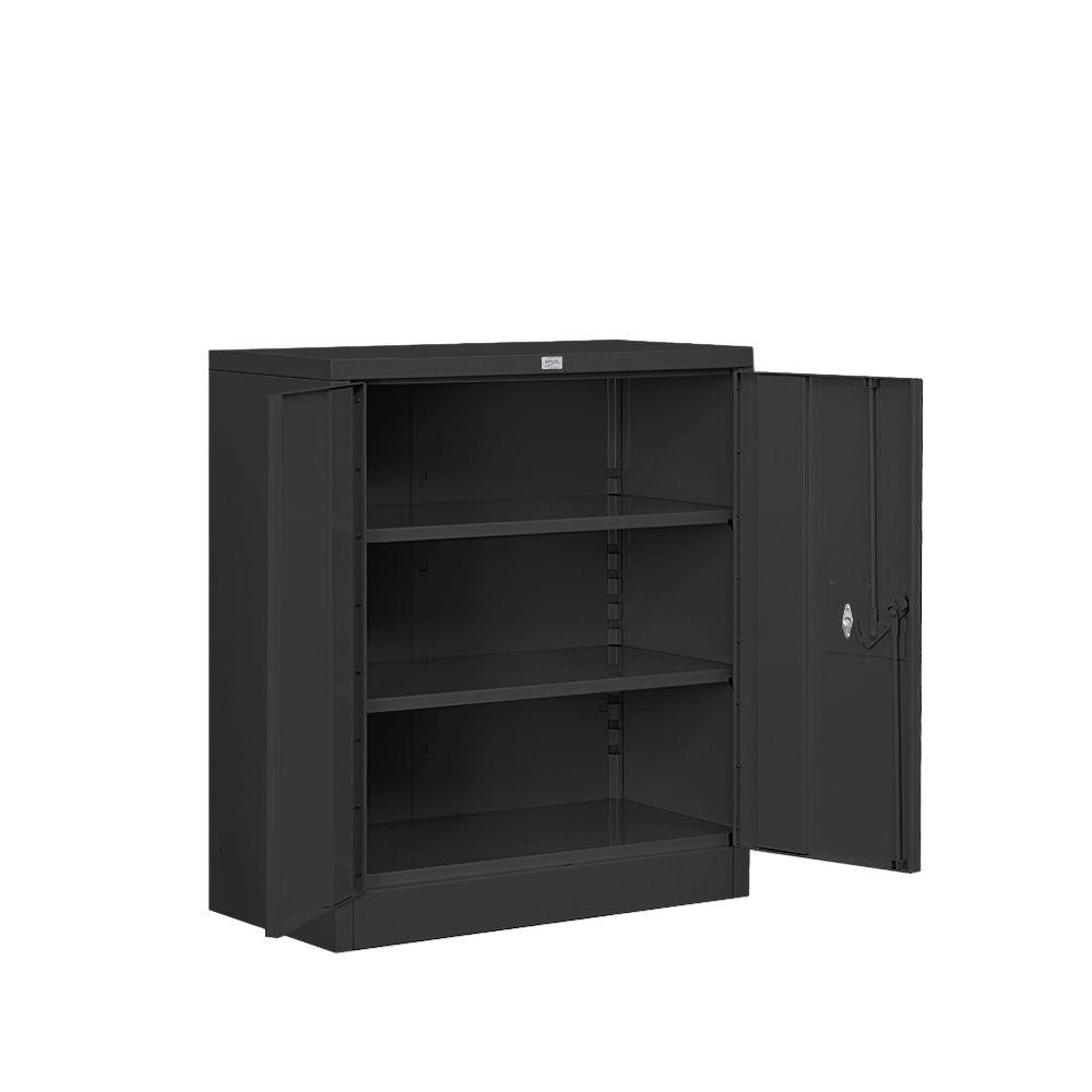 Salsbury Industries 8000 Series 2-Shelf Heavy Duty Metal Counter Height Unassembled Storage Cabinet in Black
