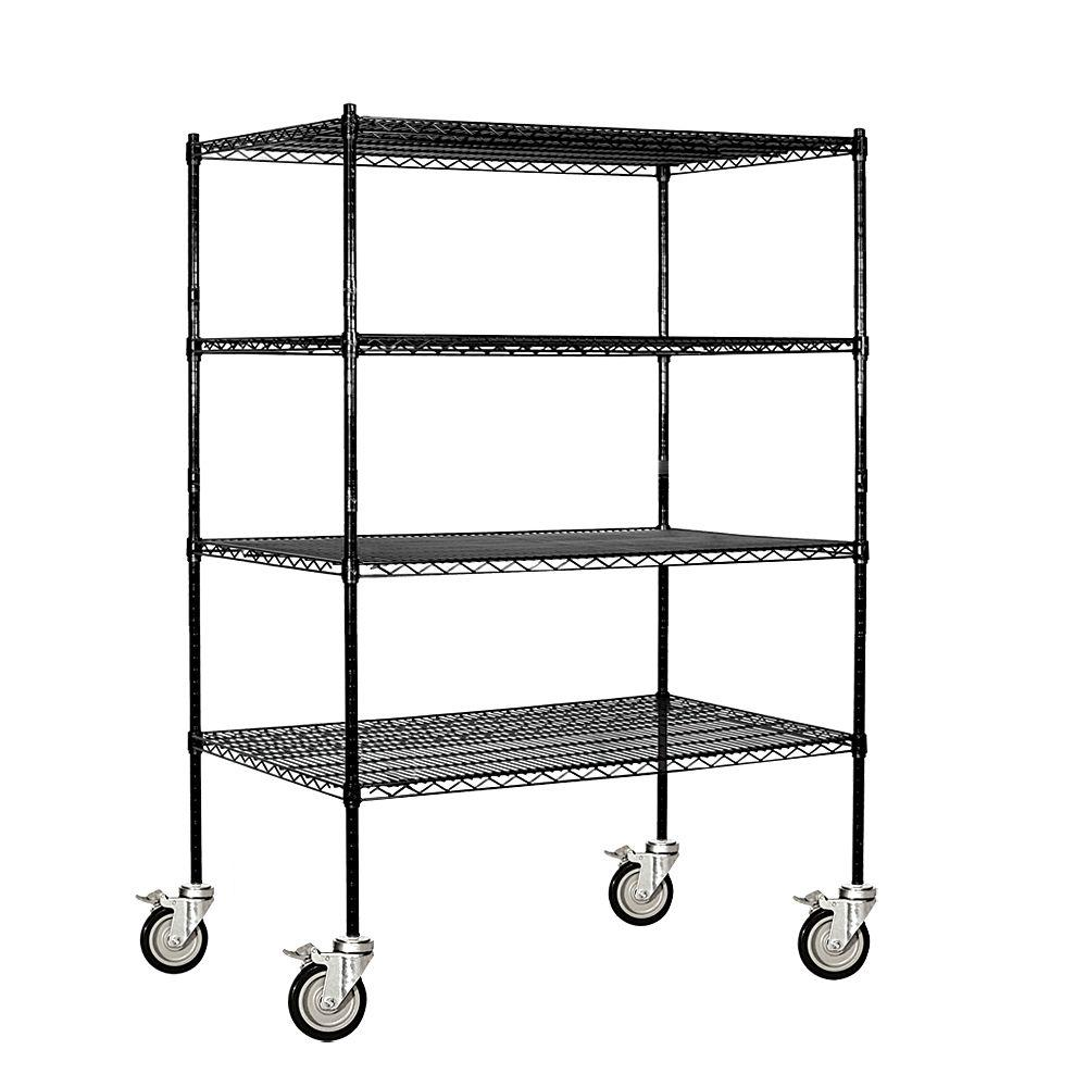 Salsbury Industries 9500S Series 48 in. W x 69 in. H x 24 in. D Industrial Grade Welded Wire Mobile Wire Shelving in Black