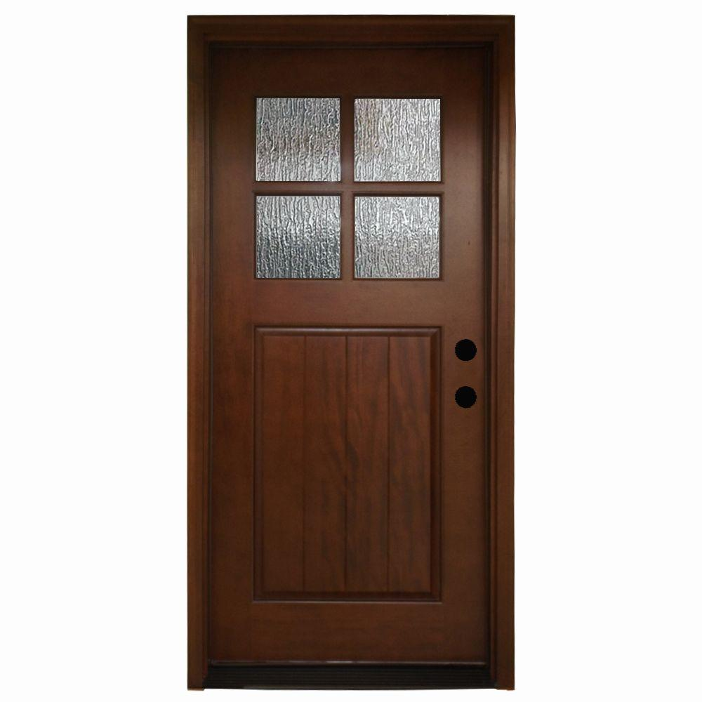 36 in. x 80 in. Cottage 4 Lite Rain Stained Mahogany